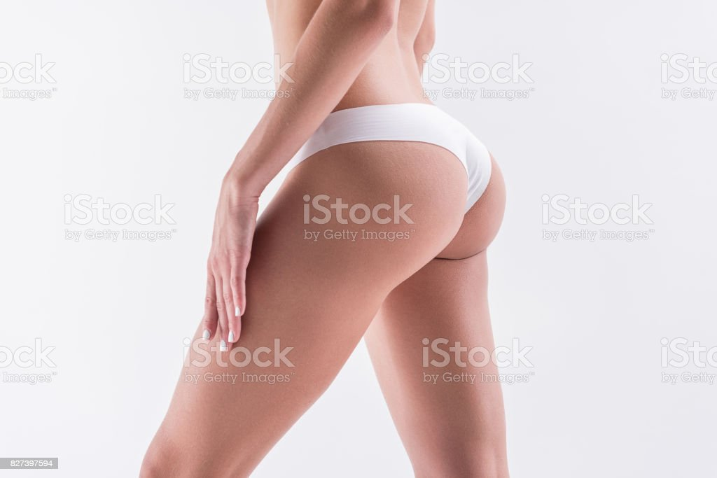 Young fit woman wearing comfy underclothes stock photo