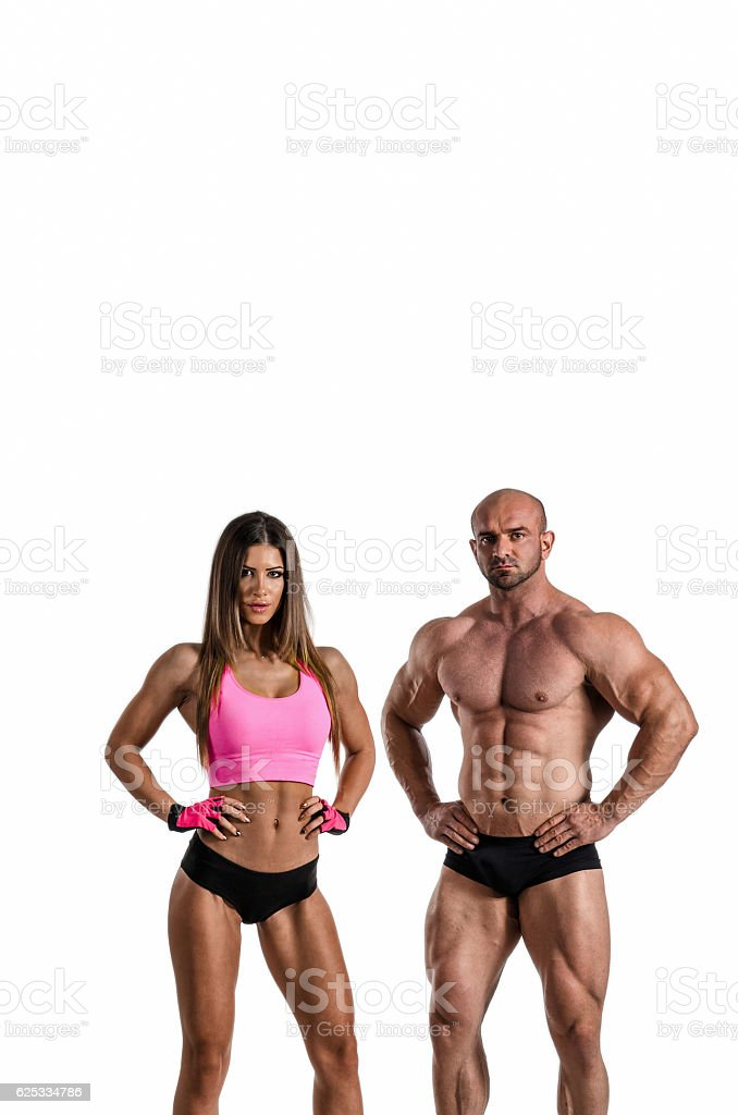Young fitness couple posing - Photo