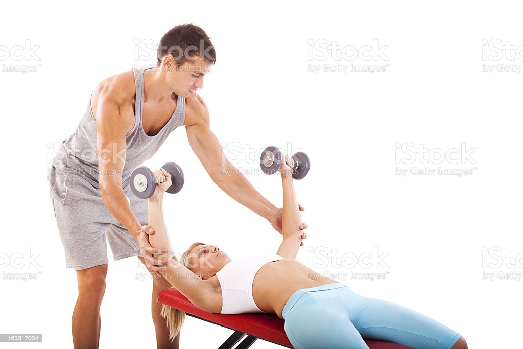 Young fitness couple training stock photo