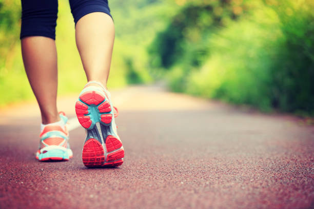 young fitness female runner legs ready for run on forest trail - jogging stock pictures, royalty-free photos & images