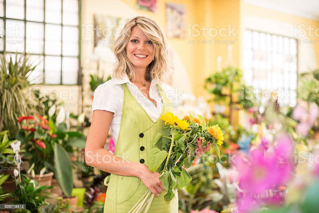 Young Florist At Work stock photo