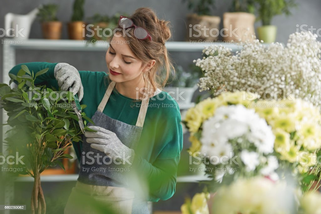 Young flower shop owner stock photo