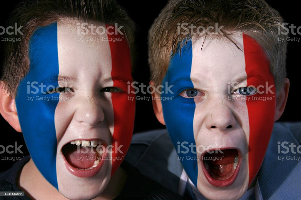 Young French Football/Rugby Fans stock photo