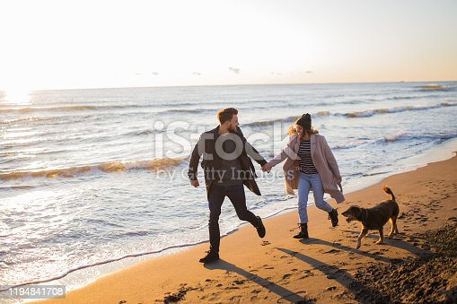 istock Young freshly married couple enjoying their honeymoon at the beach with their dog 1194841708