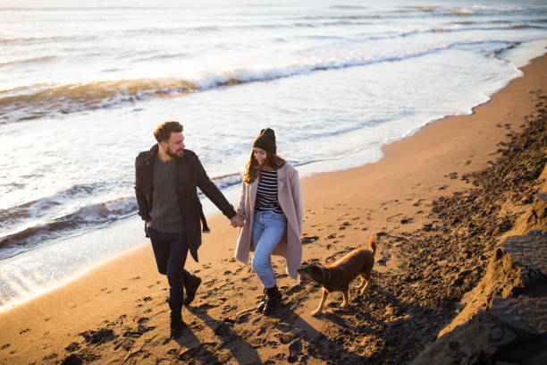 Joven pareja recién casada disfrutando de su luna de miel en la playa con su perro - foto de stock