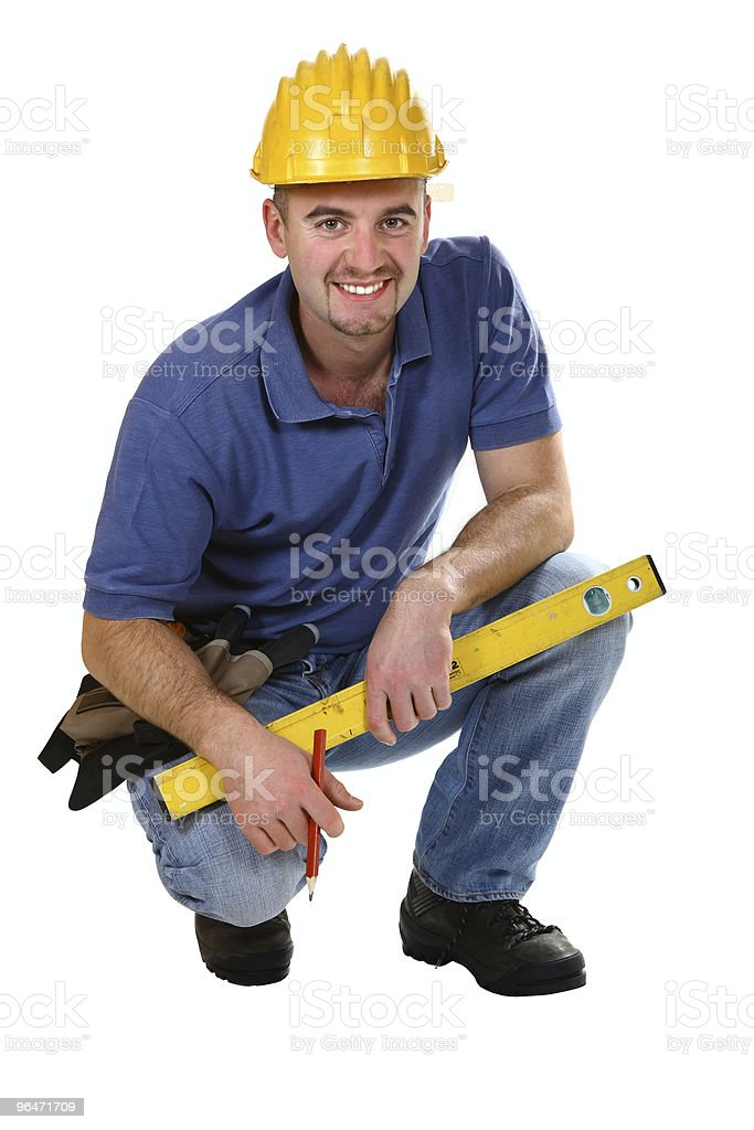 young friendly crouch manual worker royalty-free stock photo