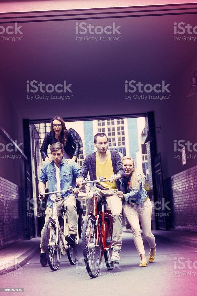 Young Friends Bicycle Fun royalty-free stock photo