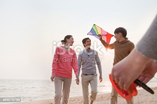453383283 istock photo Young Friends Flying a Kite on the Beach 453275799
