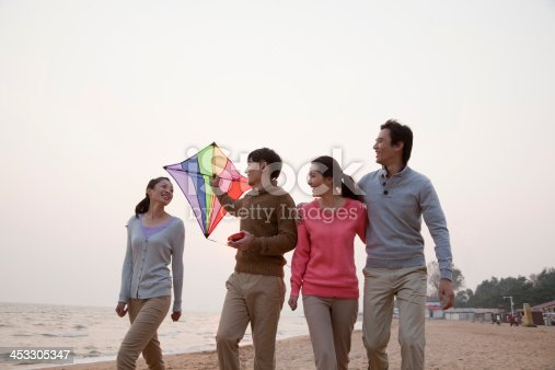 453383283 istock photo Young Friends Flying a Kite on the Beach 453305347