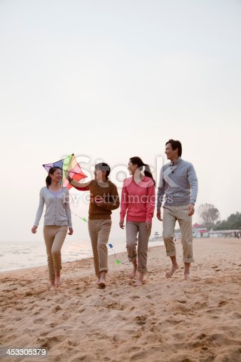 453383283 istock photo Young Friends Flying a Kite on the Beach 453305379