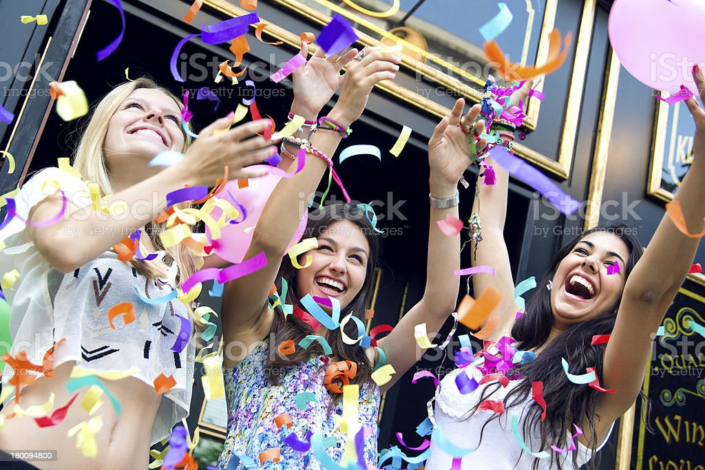 young friends having a party stock photo