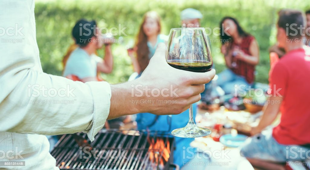 Young friends having barbecue picnic in nature - Group of people camping, drinking wine and making bbq dinner outdoor - Focus on hand glass - Youth and friendship concept - Vintage camera filter stock photo