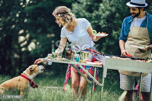 696841580istockphoto Young friends having fun grilling meat enjoying barbecue party. 1178711907