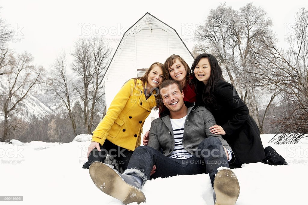 Young Friends Having Fun in Winter royalty-free stock photo