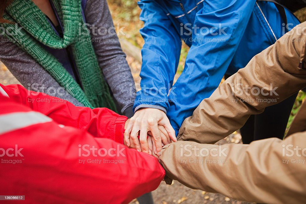 Young friends holding hands together stock photo