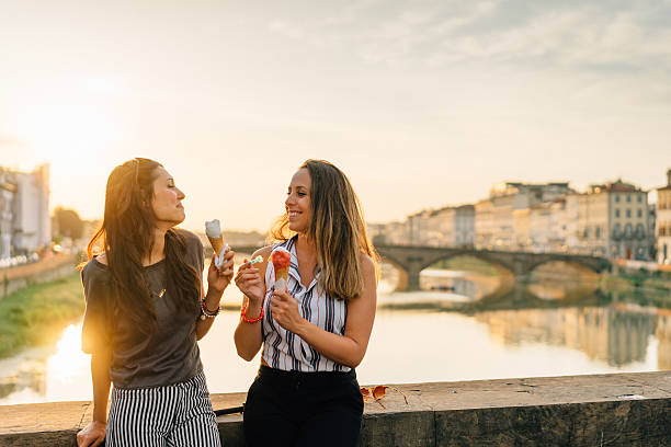 Young Friends Portrait While Eating Ice-Cream Young Friends Portrait While Eating Ice-Cream florence italy stock pictures, royalty-free photos & images