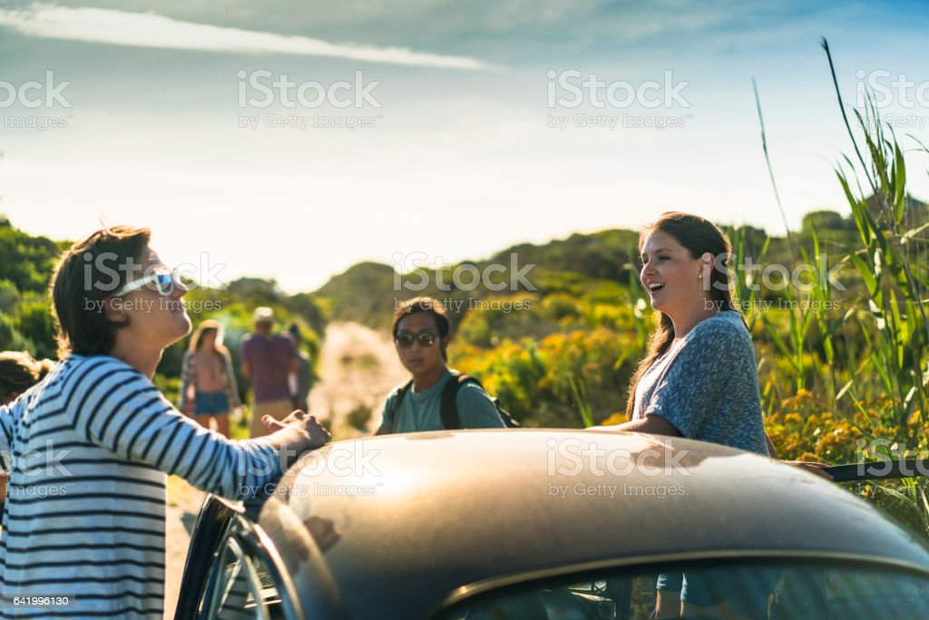 Young friends standing by car during road trip stock photo
