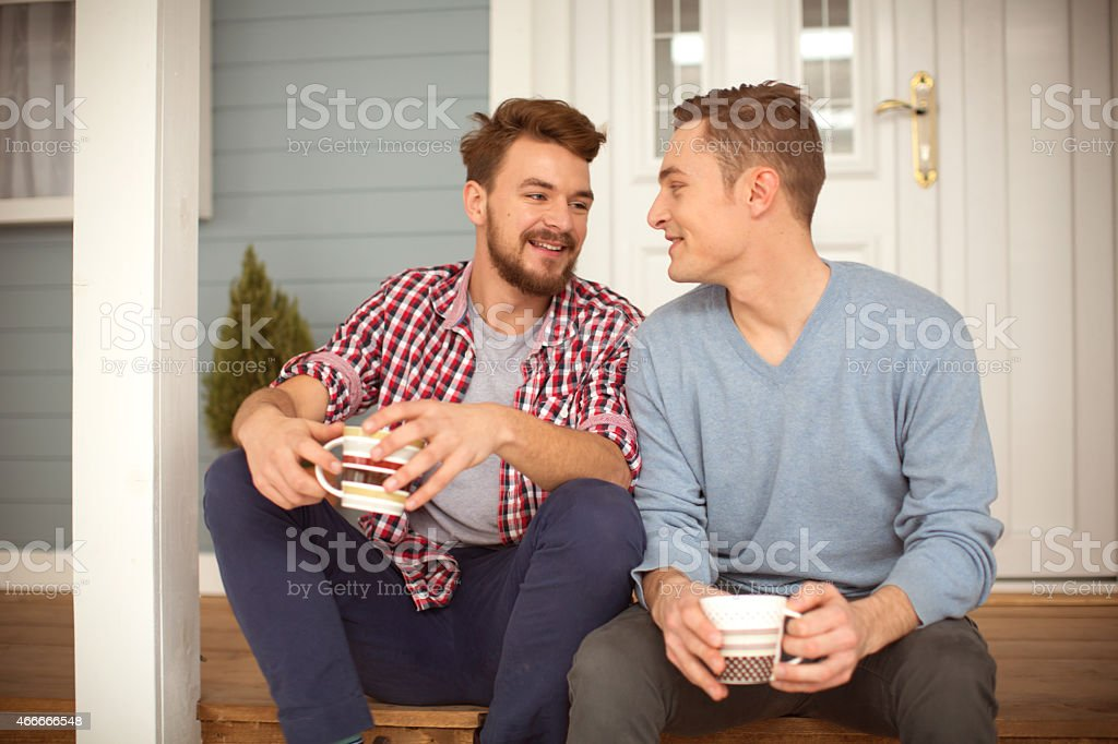 Young gay couple. stock photo