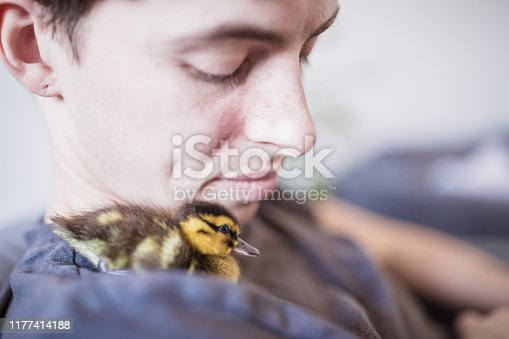 Young gay with his pet, cute little ducking