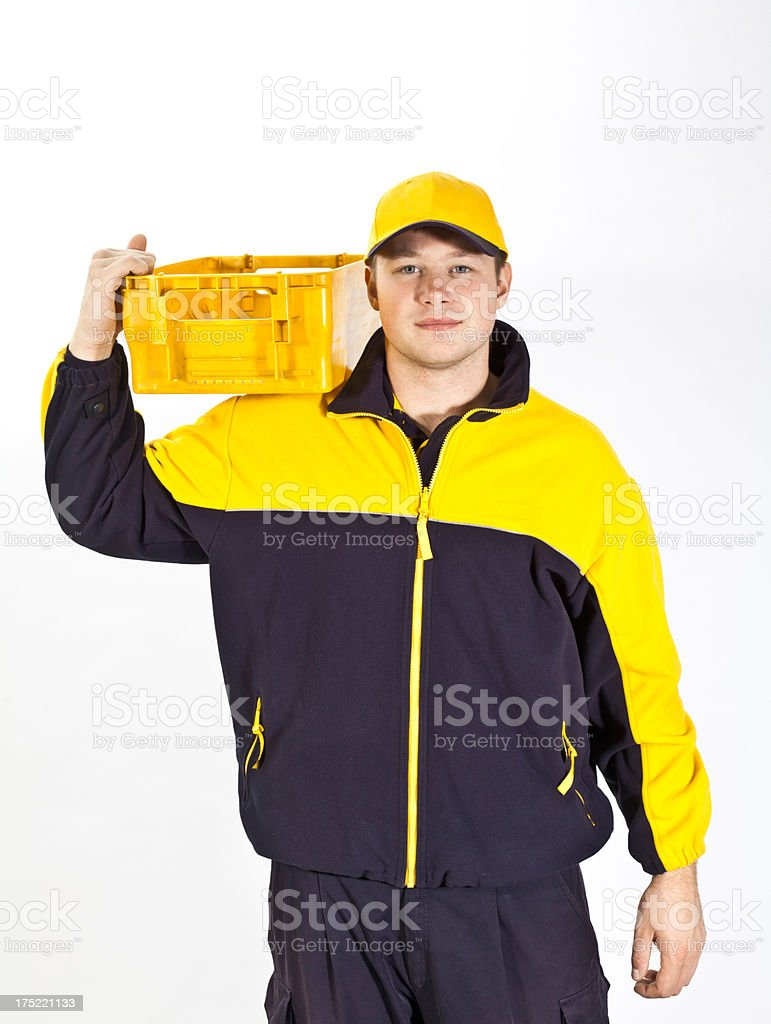 Young german postman in a uniform stock photo