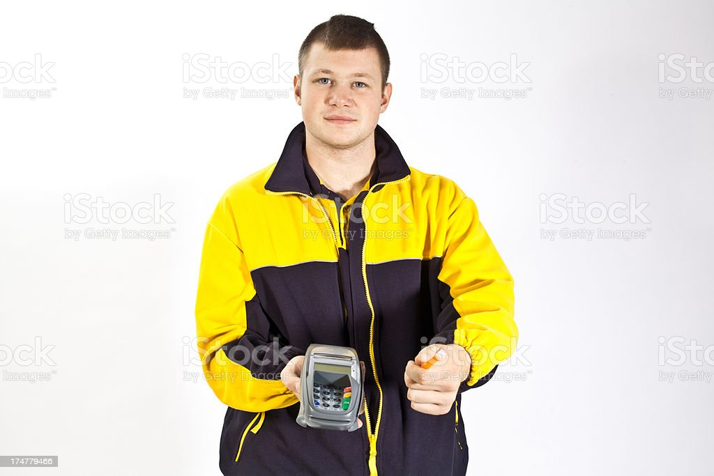 Young german postman needs a signature stock photo