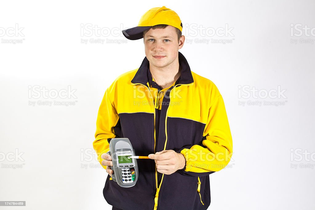 Young german postman  with electronic device stock photo
