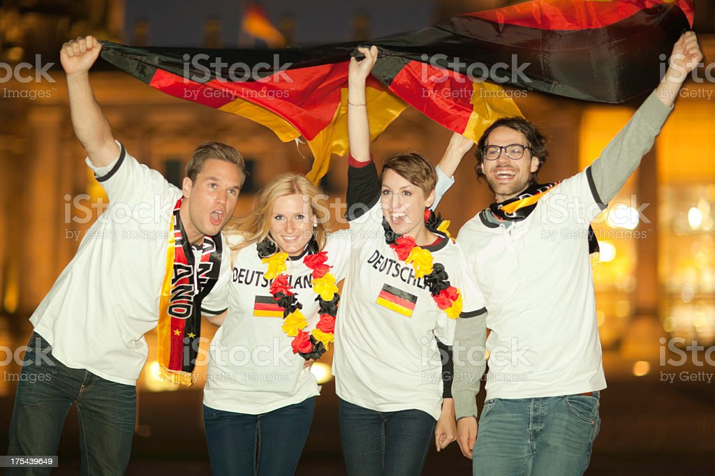 young german soccer fans stock photo