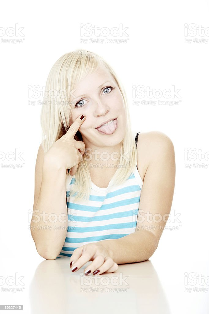Young girl against white background royalty-free stock photo