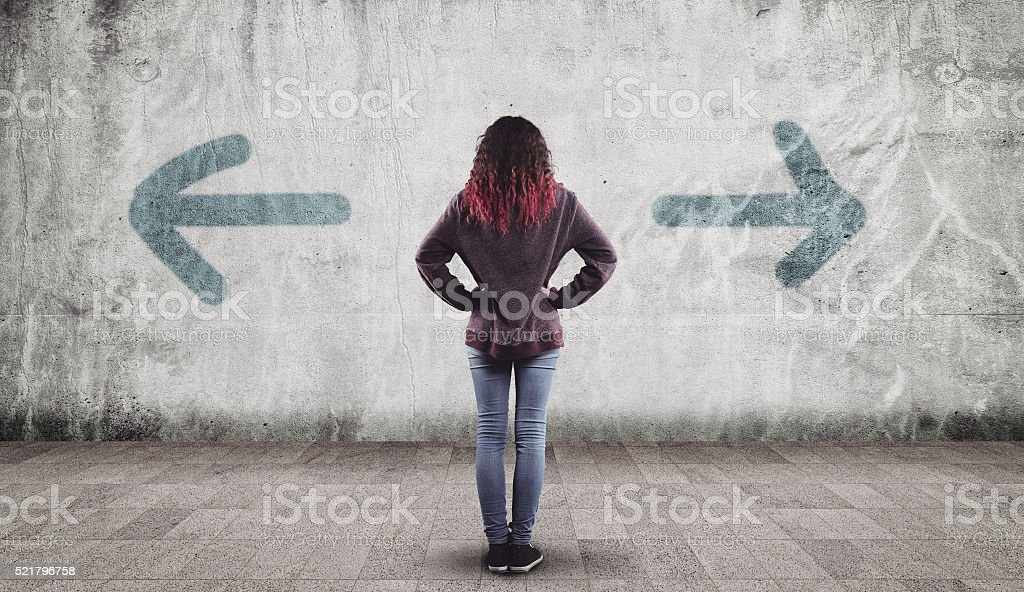 Young girl and arrows stock photo