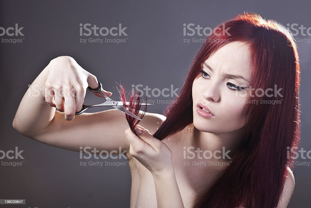 Young girl and haircare royalty-free stock photo