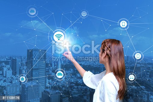 istock young girl and Internet of Things concept 811109176