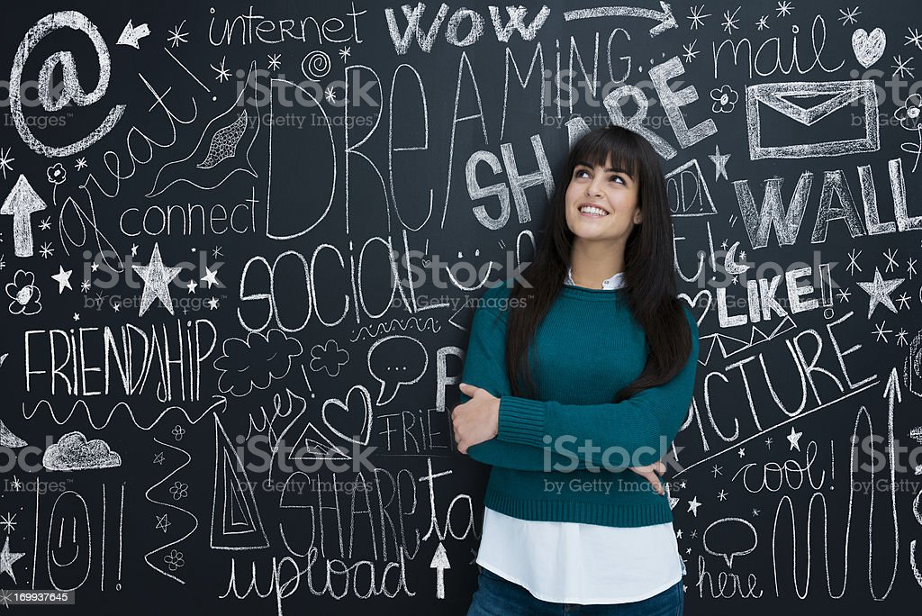 Young girl and social networks stock photo