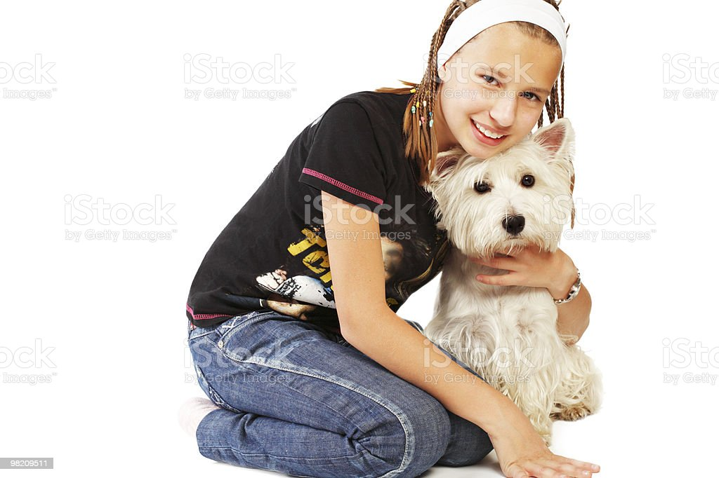 Young girl and westie royalty-free stock photo