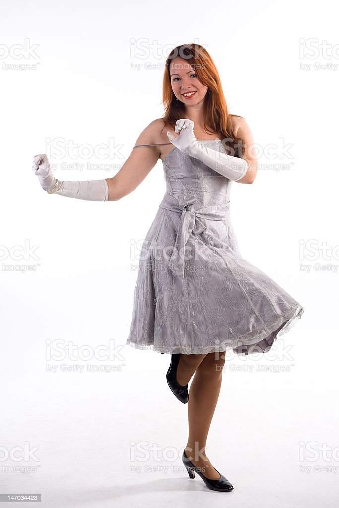 Young girl and white gloves stock photo