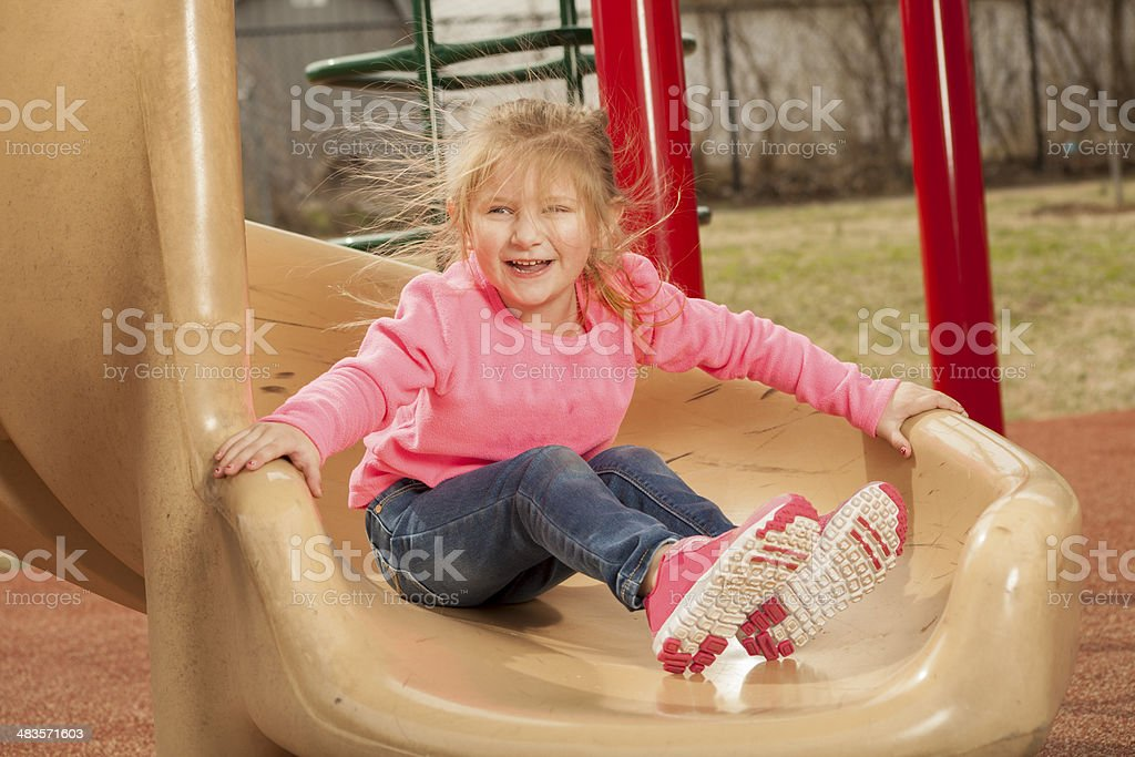 Young girl at the park stock photo