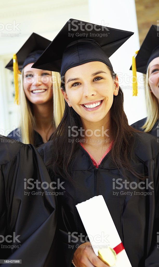 Young girl attending graduation ceremony royalty-free stock photo