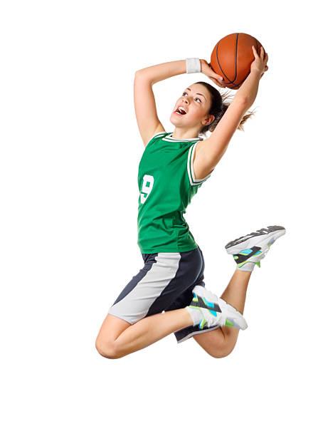 젊은 여자아이 basketball player 스톡 사진