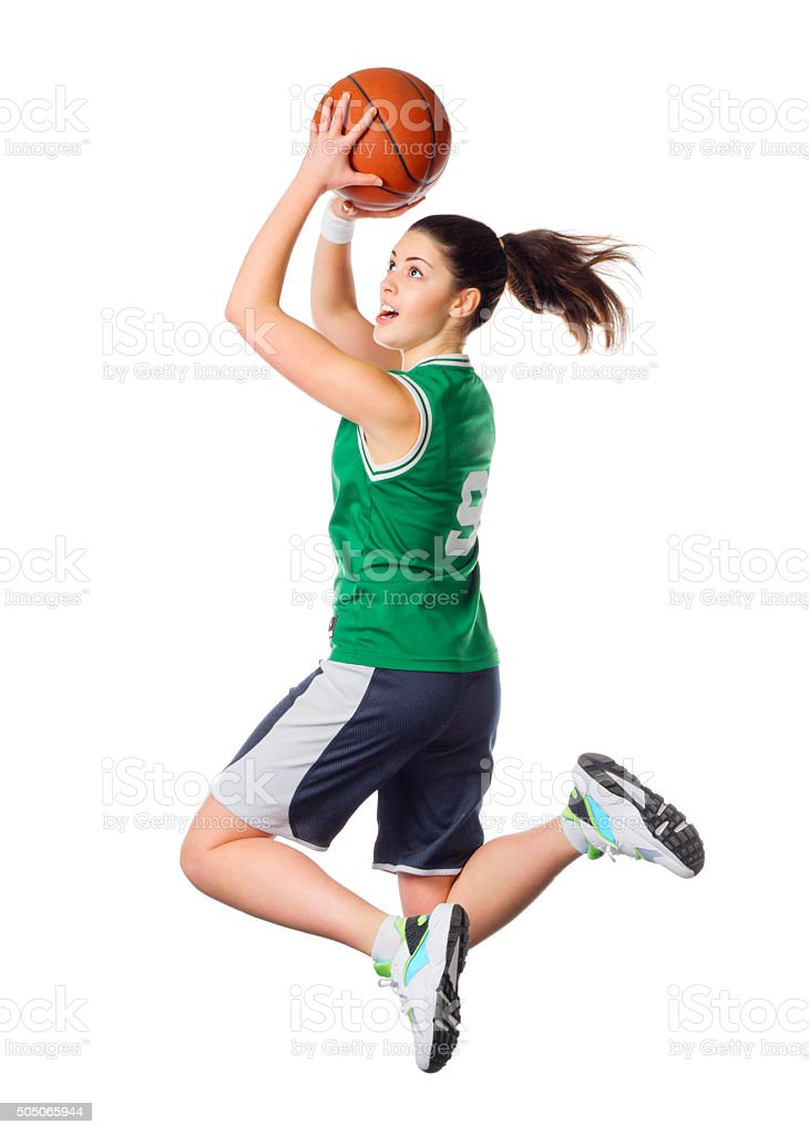 Young girl basketball player stock photo