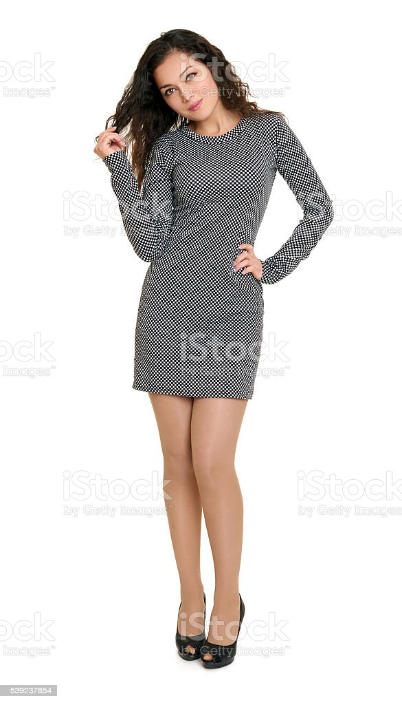 young girl beauty portrait full length, short dress, isolated royalty-free stock photo