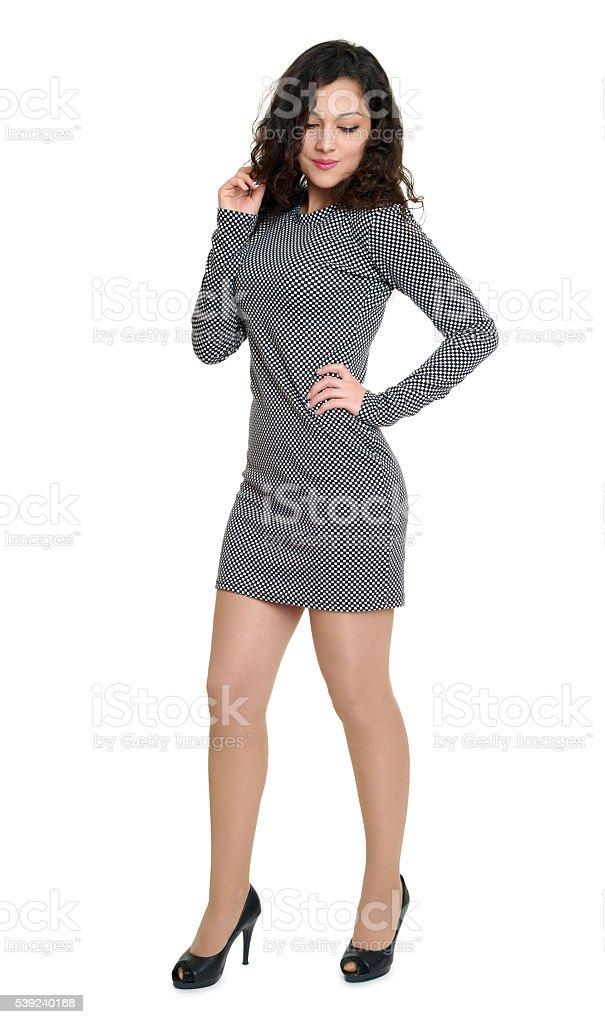 Retrato de una chica joven belleza de tamaño completo, vestido corto, aislado foto de stock libre de derechos
