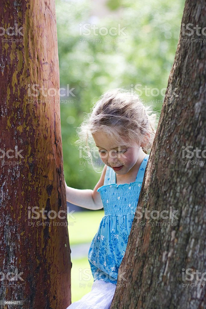 young girl beside a tree royalty-free stock photo