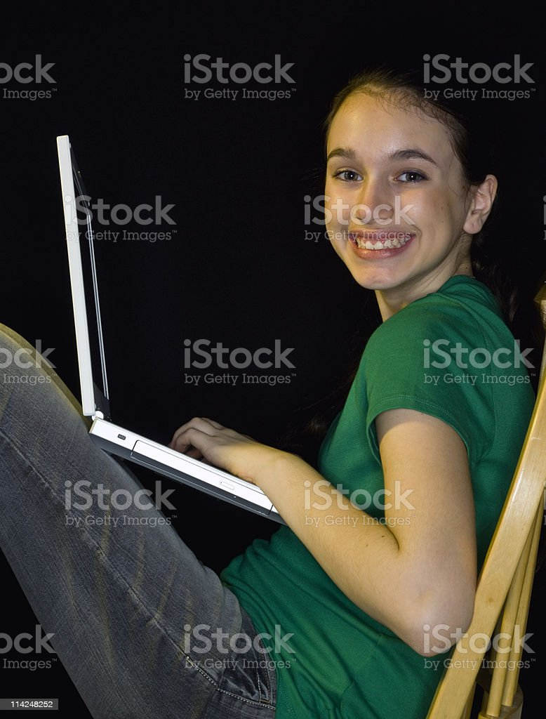 Young girl computer learning royalty-free stock photo