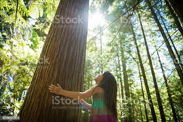 Photo of Young girl connecting with nature