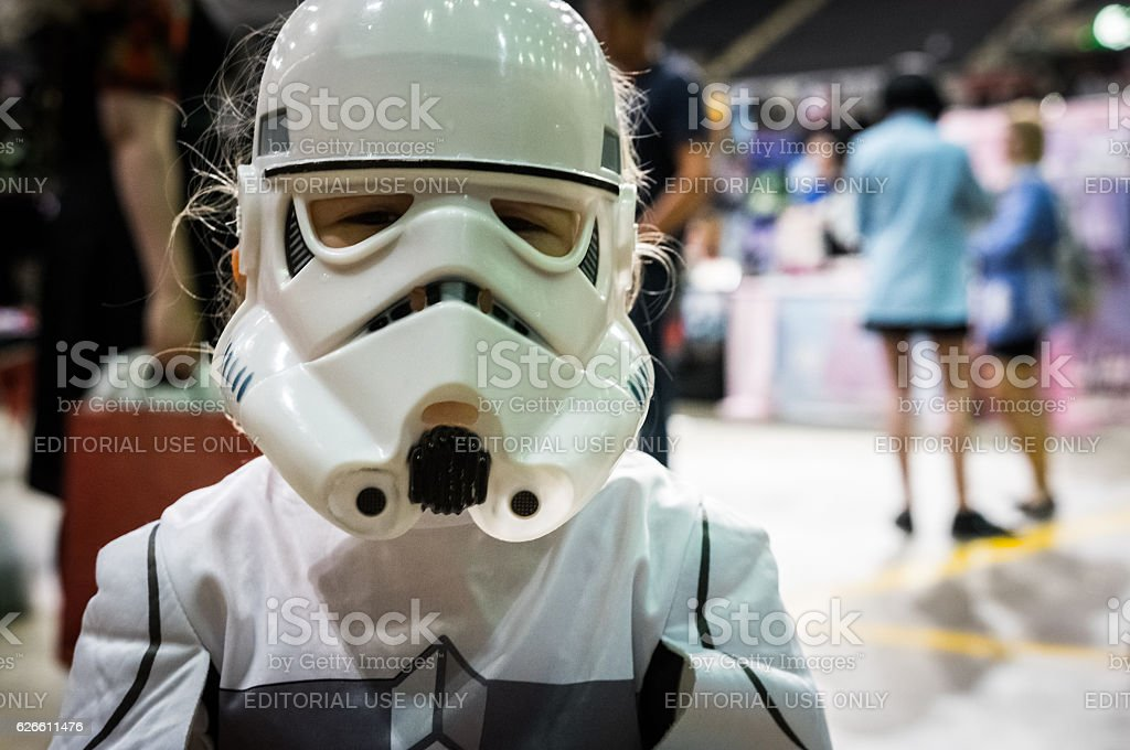 Young girl cosplaying as a stormtrooper stock photo