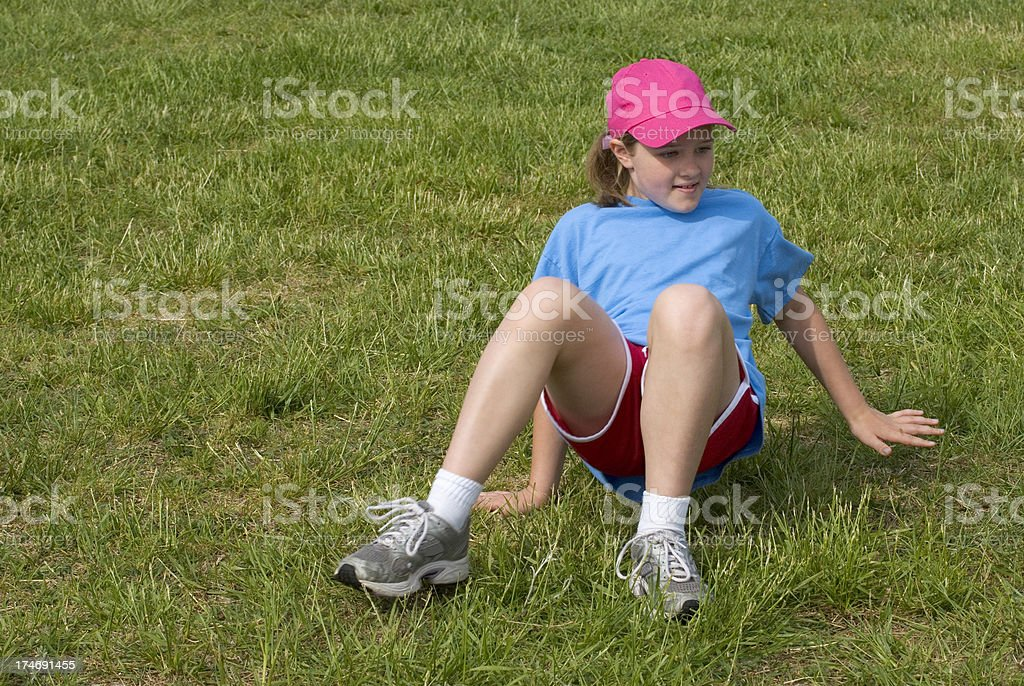 Young Girl Crab Walking Race, Elementary School Field Day royalty-free stock photo