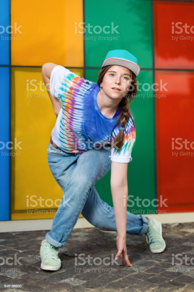 f3e610fe1ad1 Young Girl Dancing In The Street Stock Photo   More Pictures of ...