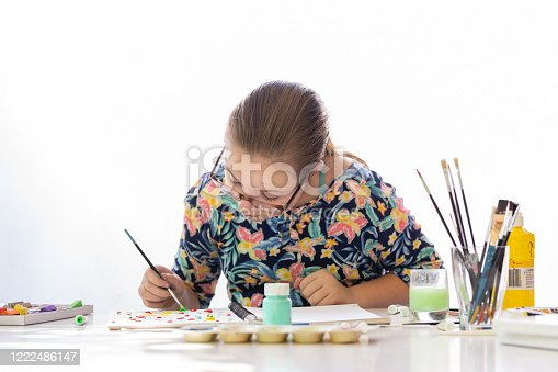 172382347 istock photo Young Girl Doing Art Class 1222486147