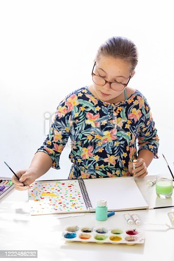 172382347 istock photo Young Girl Doing Art Class 1222486232
