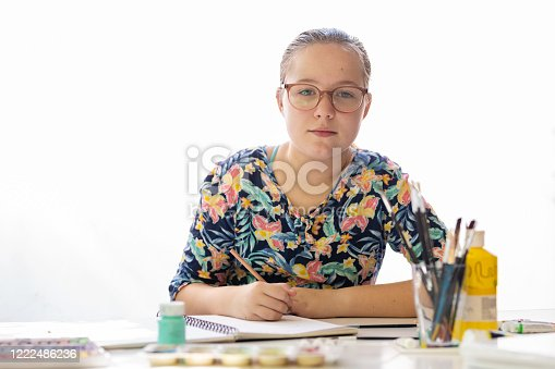 172382347 istock photo Young Girl Doing Art Class 1222486236