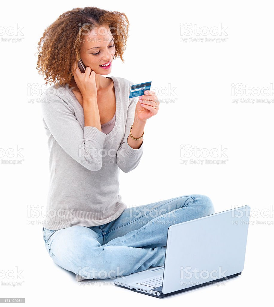 Young girl doing credit card shopping isolated on white background stock photo